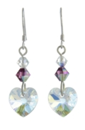 Birthstone Heart Earrings February