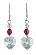 Birthstone Heart Earrings July