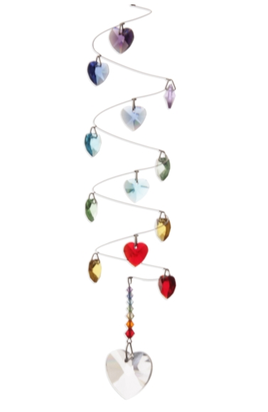 Rainbow Spiral Mobile Long 28mm Heart