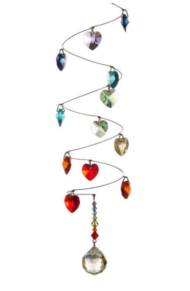 Rainbow Spiral Mobile Long 20mm Ball - Hearts