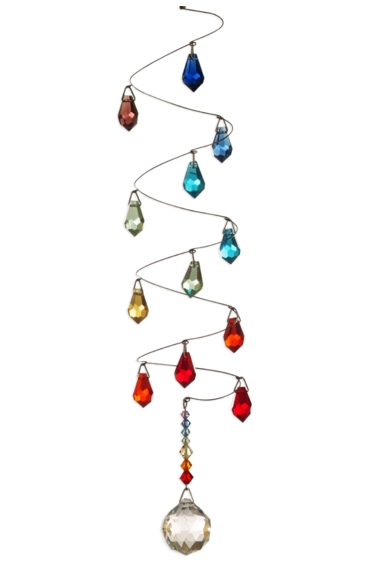 Rainbow Spiral Mobile Long 20mm Ball - Teardrops
