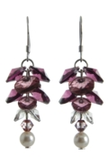 Long Flower Earrings Antique Rose