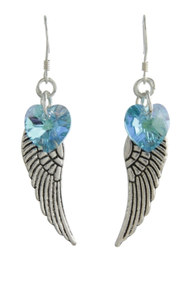 Angel Wing Earrings Aquamarine