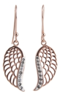 Rose Gold Angel Wing Earrings Sterling Silver - Crystal