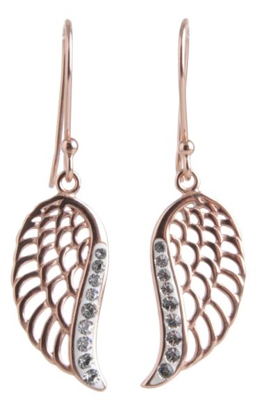 Rose Gold Angel Wing Earrings Sterling Silver - Crystal