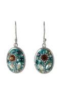 Sterling Silver Oval Earrings - Daisy