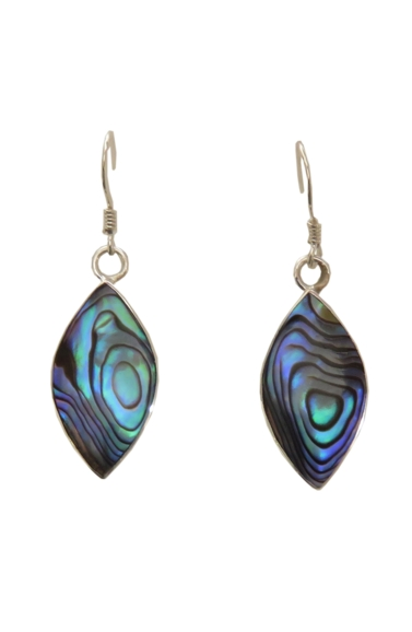 Paua Shell Earrings - Large Drop