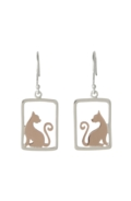 Sterling Silver Earrings - Cat in Frame