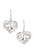 Sterling Silver Earrings - Filigree Heart with Birds