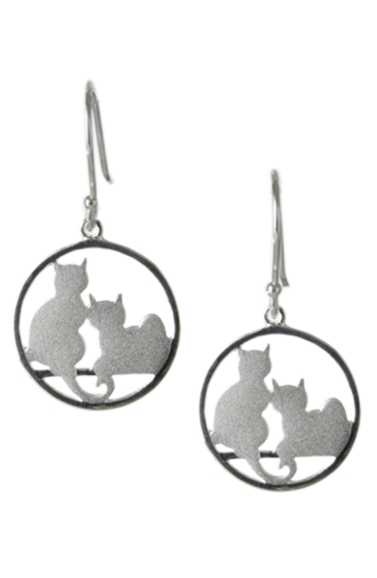 Sterling Silver Earrings - Two Cats