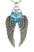 Angel Wing Necklace Aquamarine
