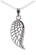 Angel Wing Necklaces Sterling Silver - Crystal