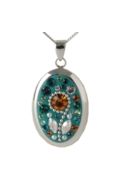 Sterling Silver Oval Necklace - Daisy