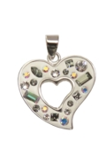 Sterling Silver Heart Necklace - Confetti