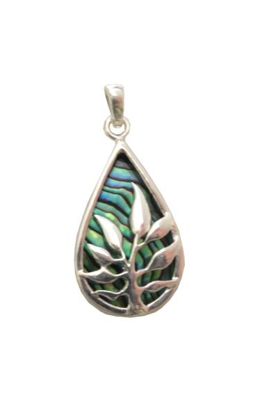 Paua Shell Necklace - Small Fern Leaf