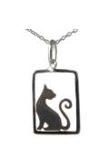 Sterling Silver Necklace - Cat in Frame