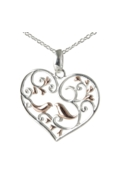Sterling Silver Necklace - Filigree Heart with Birds