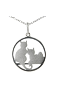 Sterling Silver Necklace - Two Cats