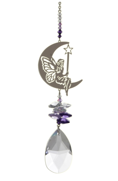Large Crystal Fantasies Fairy with Wand - Purple