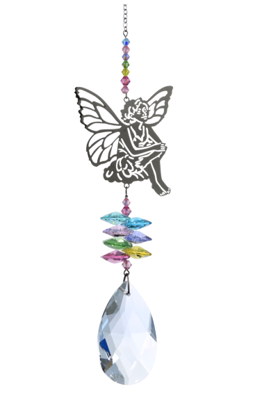 Large Crystal Fantasies Sitting Fairy - Confetti