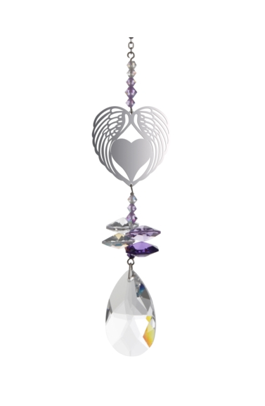 Crystal Fantasies Angel Wing Heart - Purple