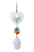 Large Crystal Fantasies Angel Wing Heart - Rainbow
