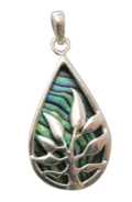 Paua Shell Necklace - Large Fern Leaf