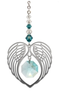 Birthstone Angel Wing Heart Blue Zircon