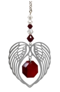 Birthstone Angel Wing Heart Garnet
