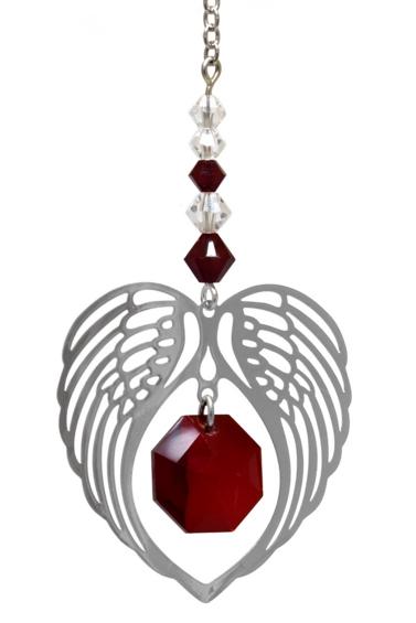 Birthstone Angel Wing Heart Garnet