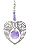 Birthstone Angel Wing Heart Light Amethyst
