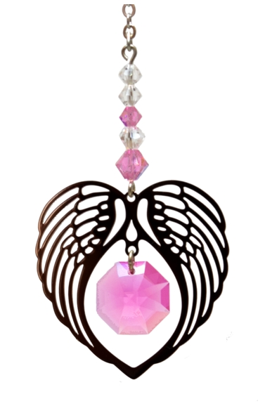 Birthstone Angel Wing Heart Rose